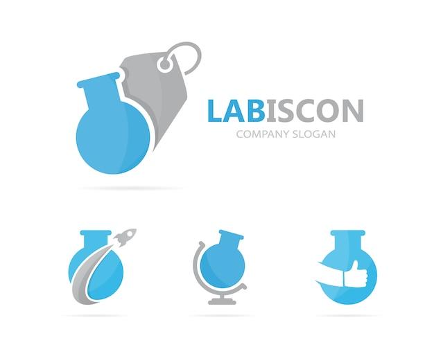 Combinación de matraz y etiqueta del logotipo.