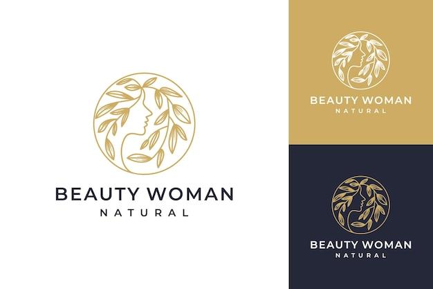 Combinación de mujeres de belleza con diseño de logotipo de arte de línea de flores