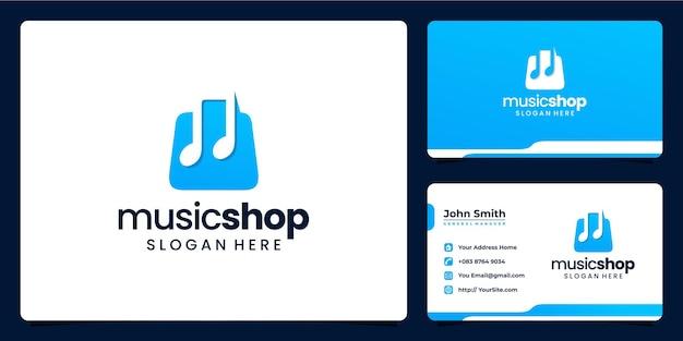 Combinación de música y registro de la tienda y tarjeta de visita