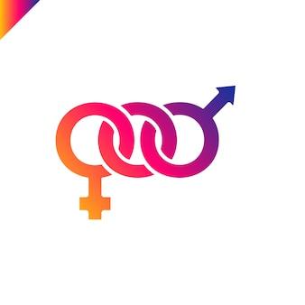 Combinación de símbolos masculinos y femeninos para la impresión de camisetas