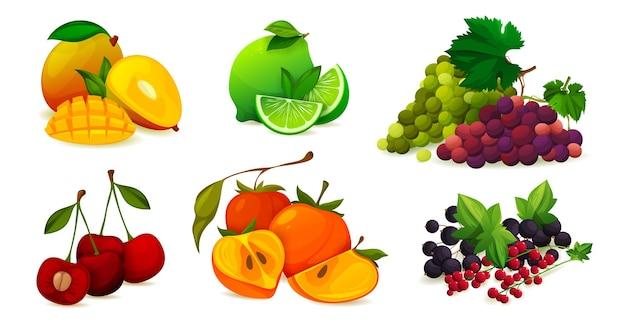Combinando frutas maduras o conjunto de vectores de vitamina