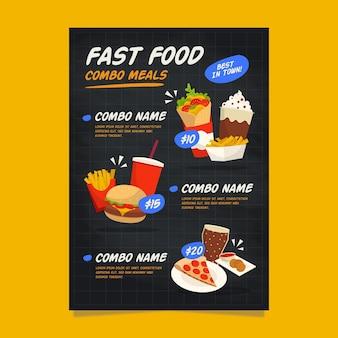 Combo de plantilla de cartel de comidas