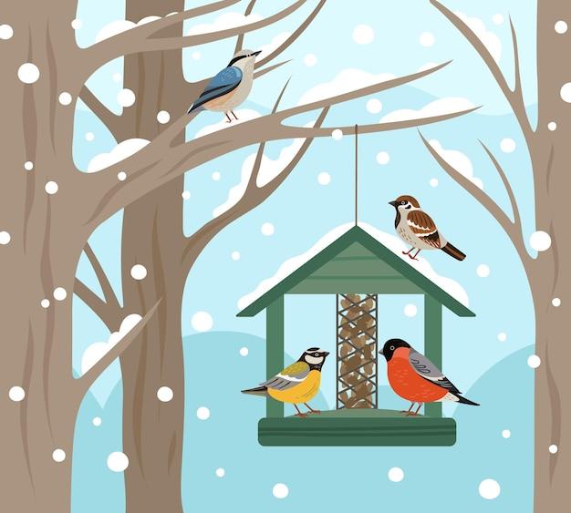 Comedero de invierno. bosque de nieve, comida de pájaros en cartel de árbol. alimentación de animales salvajes en la naturaleza, ilustración de vector de petirrojo chickadee camachuelo plano. observación de aves y pajarera, casa de alimentación.