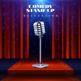 Comedia de pie de fondo con micrófono retro en el escenario y cortina roja