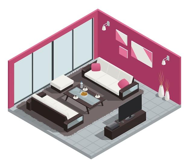 Comedor composición isométrica con sofá mesa y ventanas.