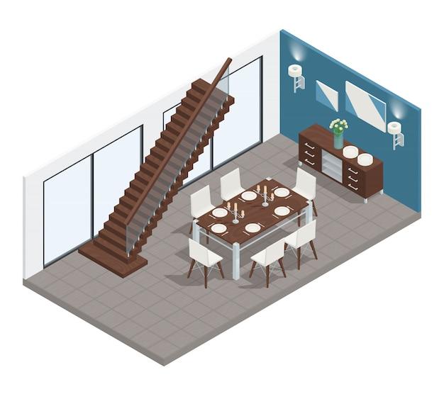 Comedor concepto isométrico con mesa y sillas escaleras.