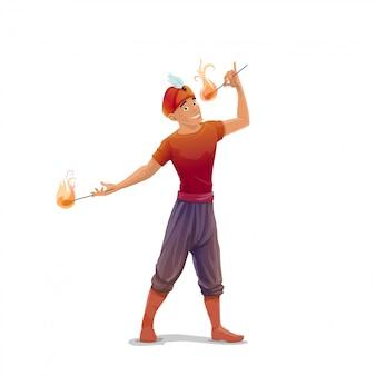 Comedor de fuego de circo o personaje fakir