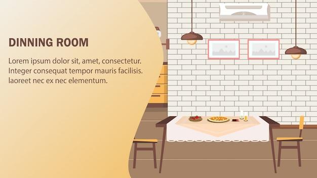Comedor sitio web vector banner plantilla.