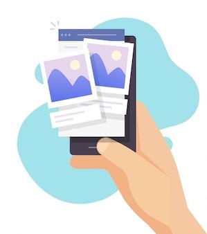 Comentando foto en la aplicación de red social en el teléfono móvil