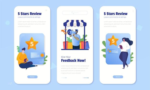 Comentarios de los clientes con un concepto de calificación de 5 estrellas