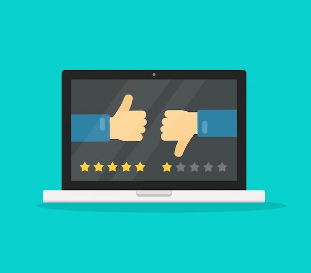 Comentarios en línea o revisión en dibujos animados planos de concepto de computadora portátil