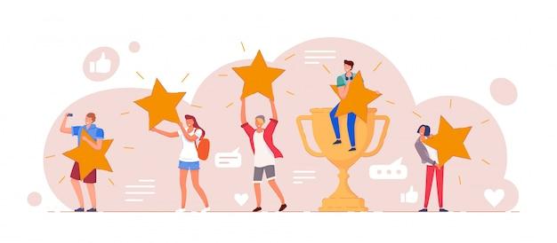 Comentarios positivos de los clientes nivel de calificación de cinco estrellas