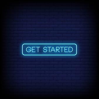 Comenzar vector de texto de estilo de letreros de neón