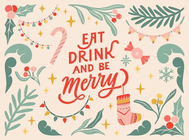Comer, beber y ser feliz postal de felicitación vintage linograbado banner tipográfico elementos florales coloridos