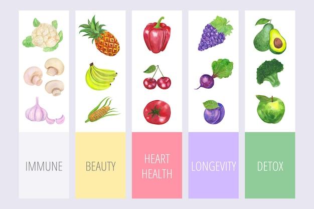 Comer un concepto de arco iris infografía