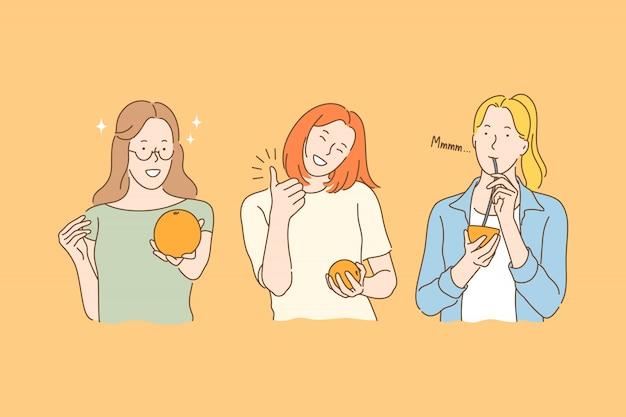 Comer frutas concepto