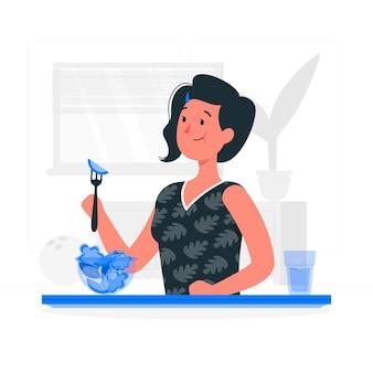 Comer ilustración de concepto de comida saludable