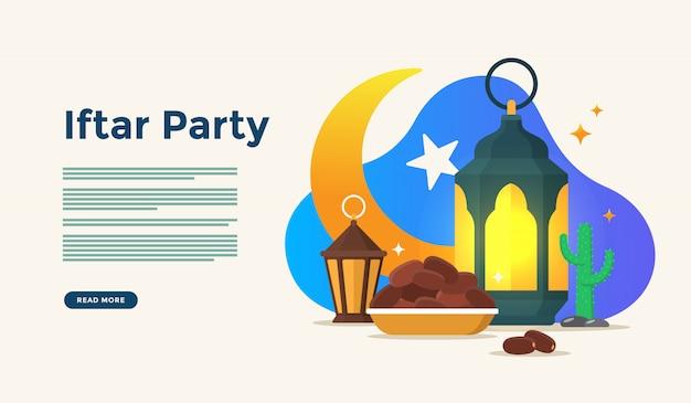 Comer juntos después del ayuno fiesta fiesta iftar. cena familiar musulmana en ramadan kareem o eid celebrando con el concepto de carácter de personas para la plantilla de página de aterrizaje web