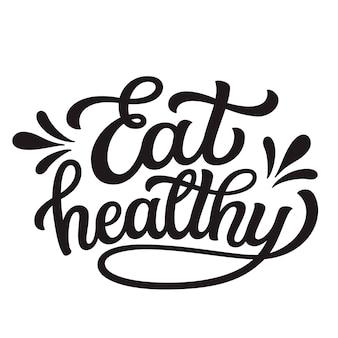 Comer letras de mano saludables