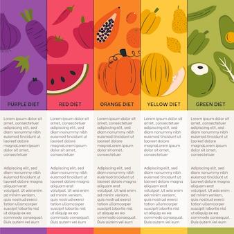 Comer una plantilla de infografía arcoiris