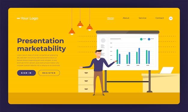 Comercialización de habilidades de presentación de concepto de sitio web. ilustración.