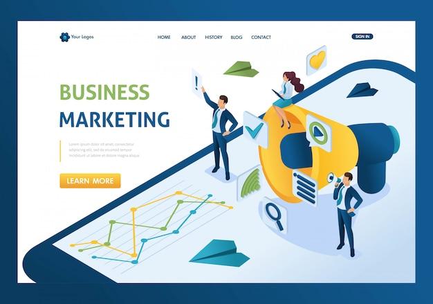Comercialización isométrica de negocios, empresarios junto al megáfono grande y página de inicio de iconos digitales