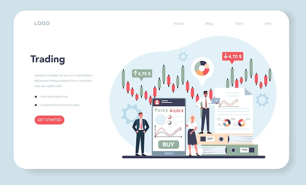Comerciante, banner web de inversión financiera o página de destino.