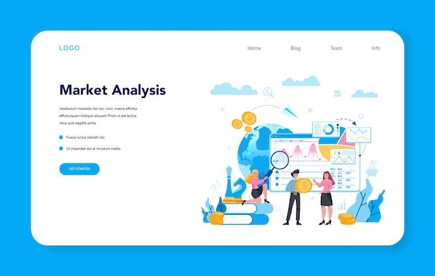 Comerciante, banner web de inversión financiera o página de destino