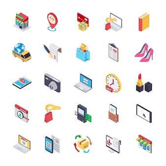 Comercio electrónico y compras iconos planos