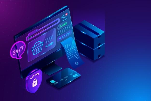 Comercio electrónico isométrico y cesta de la compra.