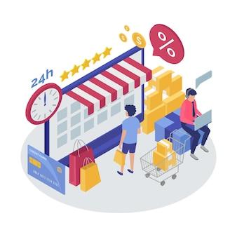 Comercio electrónico isométrico - concepto