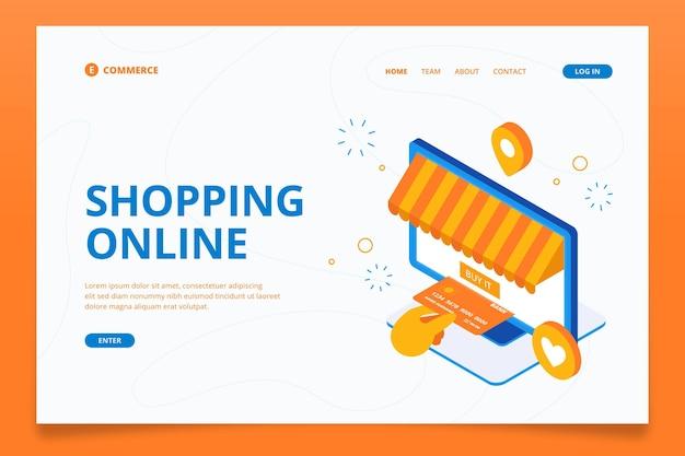 Comercio electrónico isométrico - páginas de destino