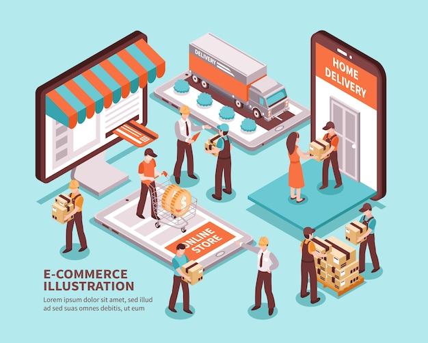 Comercio electronico isometrico