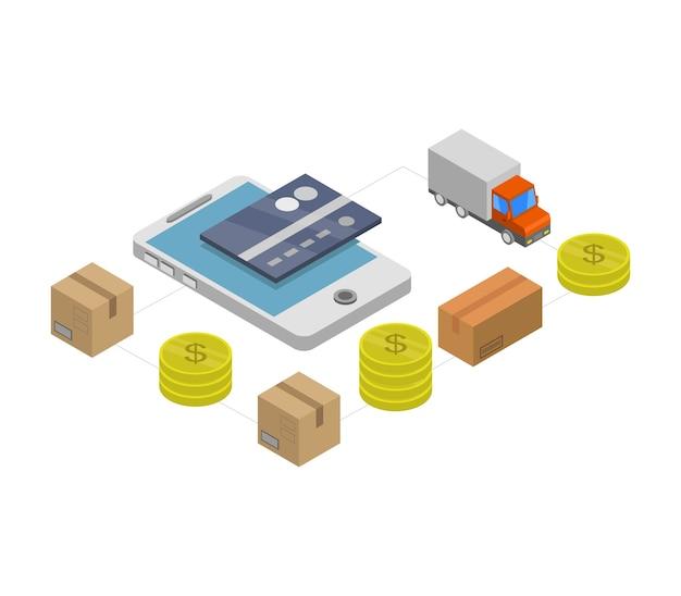 Comercio electrónico isométrico