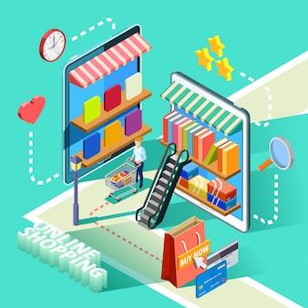 Comercio electrónico en línea compras diseño isométrico cartel
