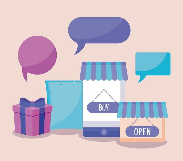 Comercio electrónico en línea con teléfonos inteligentes e íconos