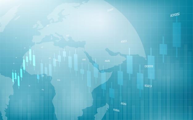 Comercio con una ilustración de un gráfico de barras de comercio de bolsa cada vez mayor.