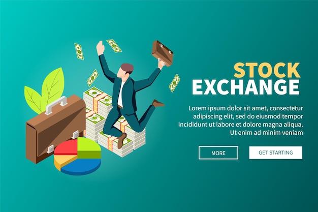 El comercio en línea de la bolsa de valores con los principales corredores de billetes apila una página web isométrica