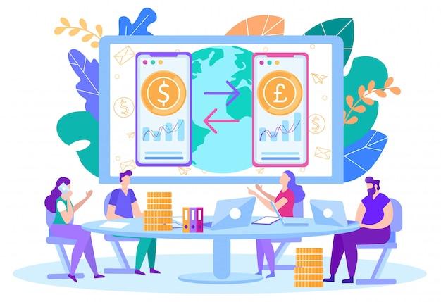 Comercio en línea, vector de cambio de moneda de inicio