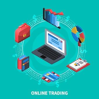 Comercio online composición isométrica redonda
