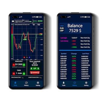 Comercio en la pantalla de un teléfono inteligente, interfaz de opciones binarias, teléfono inteligente realista