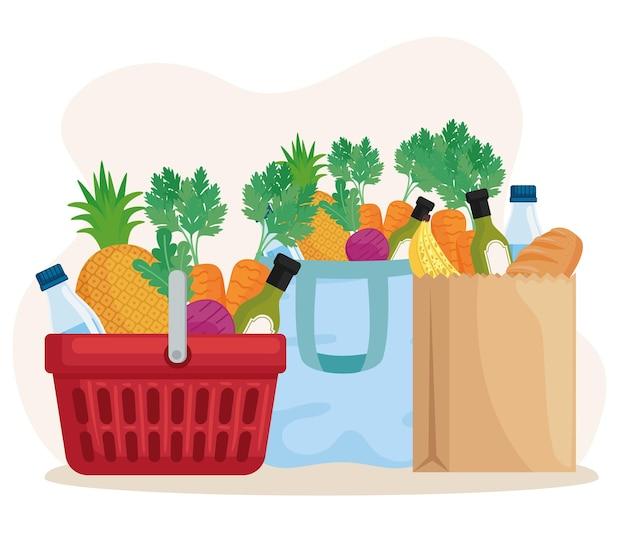 Comestibles dentro de bolsas de la compra.