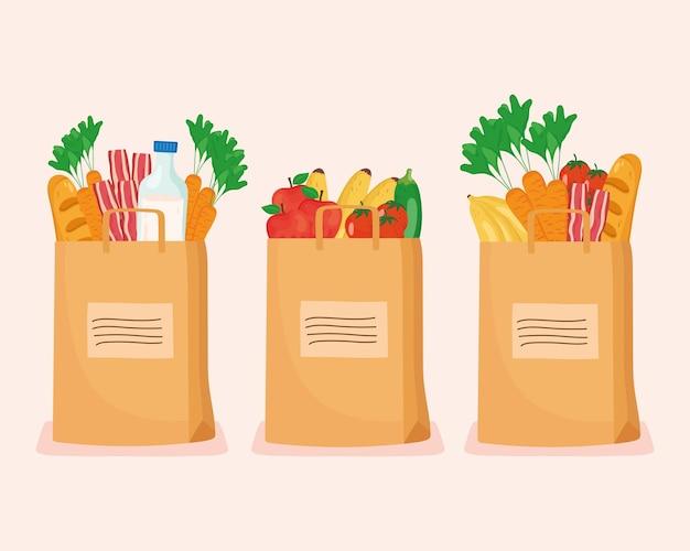 Comestibles dentro de bolsas de juego