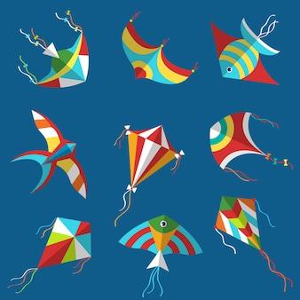 Cometa. festival de objetos de ocio aéreo, artículos divertidos, juego de pasatiempos en ilustraciones de cometas vectoriales de la infancia. juguete de cometa para ocio aislado, herramientas voladoras en la infancia