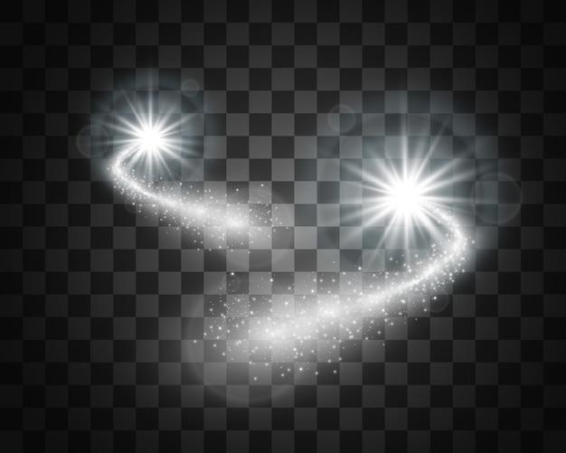 Cometa sobre un fondo transparente. lucero. hermoso camino estrellado. estrella fugaz. cola de cometa. meteoro vuela. objeto espacial.