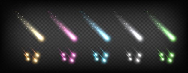 Cometas que caen. efectos de brillo de colores. plantilla abstracta de vector de relámpago de brillo. resplandor de luz de efecto descendente, ilustración de caída de estrella de astronomía de brillo