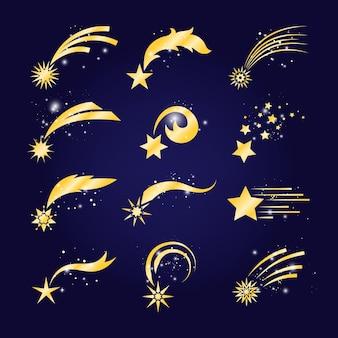Cometas que caen o estrellas fugaces doradas.