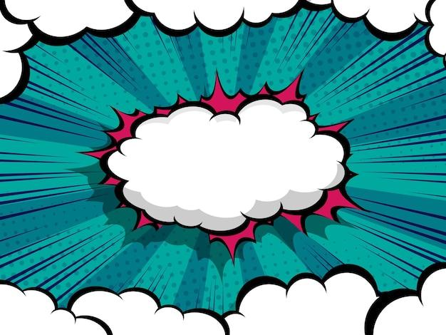 Cómic abstracto, fondo de ilustración de vector de burbuja de discurso de dibujos animados de arte pop