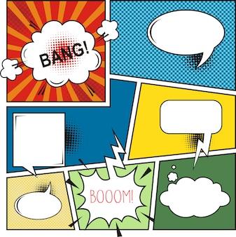 Comic book speech bubbles. elementos de diseño retro