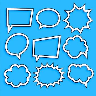 Comic burbujas de chat y expresión en estilo de línea.
